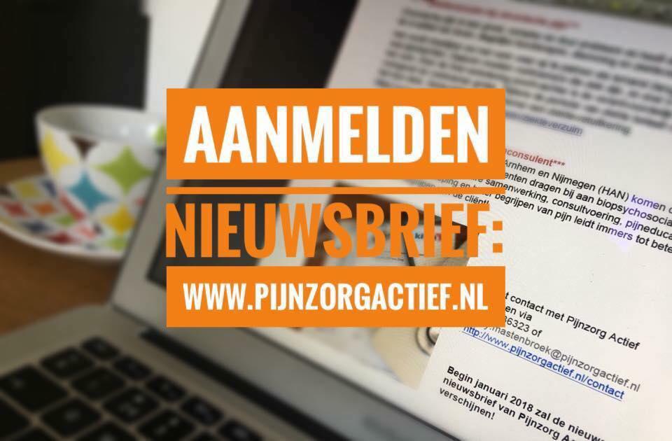 Aanmelden voor nieuwsbrieven Pijnzorg Actief, subscribe